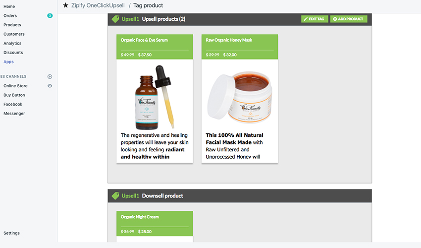 Webpage screenshot example of upsell and downsell products on dashboard displaying natural face serum and honey mask items