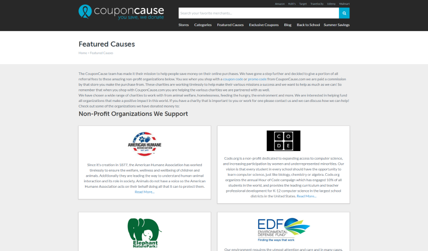 Webpage screenshot example of coupon cause dashboard of available charities and featured causes nonprofit charities we support