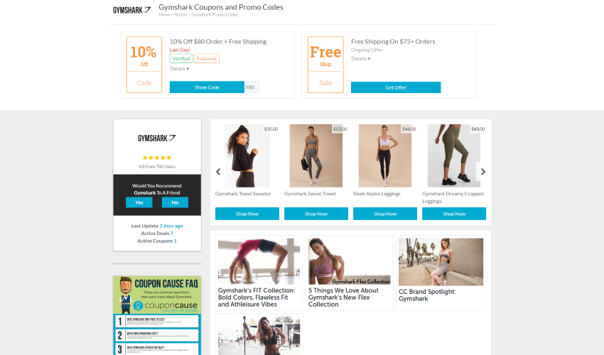 Webpage screenshot example of gymshark products page integration with coupon cause